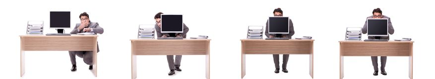 The businessman hiding in the office isolated on white. Businessman hiding in the office isolated on white Stock Photo