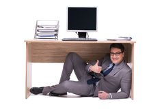 The businessman hiding in the ofice Royalty Free Stock Images