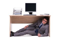 The businessman hiding in the ofice Royalty Free Stock Photography