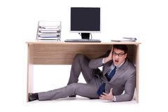 The businessman hiding in the ofice Royalty Free Stock Photos