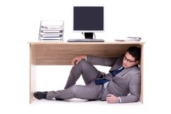 The businessman hiding in the ofice Stock Images