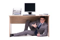 The businessman hiding in the ofice Royalty Free Stock Image