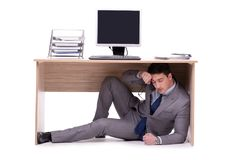 The businessman hiding in the ofice. Businessman hiding in the ofice Stock Images