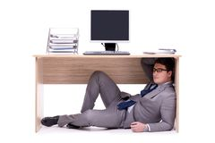 The businessman hiding in the ofice. Businessman hiding in the ofice Royalty Free Stock Image