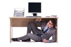 The businessman hiding in the ofice Stock Photos