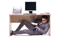 The businessman hiding in the ofice Stock Image