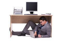 The businessman hiding in the ofice Stock Photo