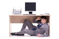 The businessman hiding in the ofice Stock Photography