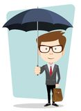 Businessman hiding from the rain under an umbrella Royalty Free Stock Images