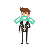 Businessman hiding real emotion behind smile face icons. Man chooses an emotional faces. Royalty Free Stock Photo