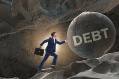 The businessman in high interest debt business concept. Businessman in high interest debt business concept Stock Images