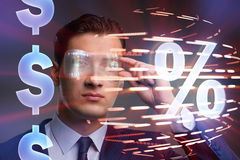 The businessman in high interest rate concept Stock Images