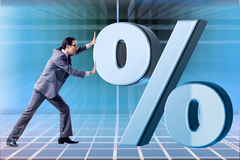 The businessman in high interest rates concept Royalty Free Stock Image