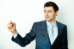 Businessman with highlighter Royalty Free Stock Photo