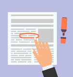 Businessman Highlights the Text in Document Marker Stock Images