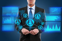 Businessman on hightech concept. In virtual image stock photography