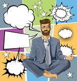 Businessman Hipster in Lotus Pose Meditating With Bubble Speech Royalty Free Stock Photos