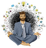 Businessman Hipster in Lotus Pose Meditating ORIGINAL- Stock Image