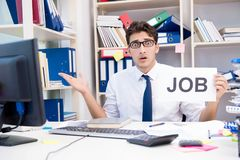 The businessman hiring new employees to cope with increased workload. Businessman hiring new employees to cope with increased workload Stock Image
