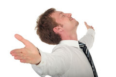 Businessman with his arms wide open Stock Images