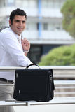 Businessman with his briefcase Stock Image