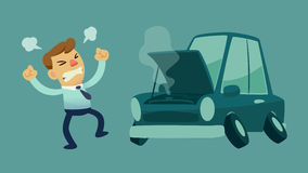 Businessman and his broken car. Businessman get frustrated because his car broken down on the way to work Royalty Free Stock Photo