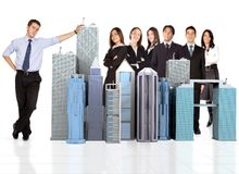 Businessman and his business team Stock Images
