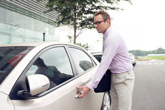 Businessman and his car Stock Photo