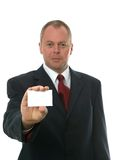 Businessman and his card. Royalty Free Stock Images