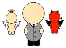 Businessman and his conscience. Cute cartoon businessman and his conscience royalty free illustration