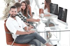 Businessman and his creative team working stock image