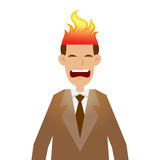 Businessman With His Head on Fire stock illustration