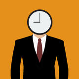 Businessman His Head Is A Clock Stock Images