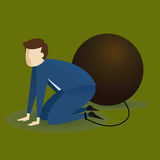 Businessman On His Knees With Weight Burden Stock Images