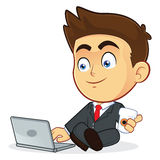 Businessman with his Laptop. Clipart Picture of a Male Businessman Cartoon Character with his Laptop Royalty Free Stock Image