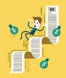 Businessman and his money flowing down on tax document. Royalty Free Stock Photos