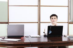 Businessman at his office Royalty Free Stock Photos