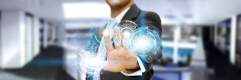 Businessman in his office using tactile interface Stock Images