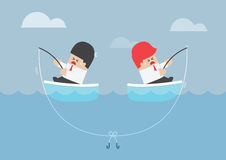 Businessman and his rival having trouble with fishing rod Stock Photography