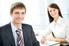 Businessman and his secretary Stock Photography