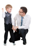 Businessman with his son in the studio Royalty Free Stock Photos