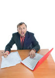 A businessman at his table, shouting Stock Photo