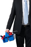 Businessman and his tools Royalty Free Stock Photography
