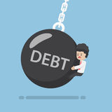 Businessman is Hit by Debt Wrecking Ball Royalty Free Stock Photos