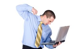 Businessman hit laptop Royalty Free Stock Photo