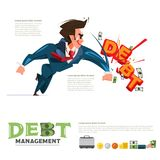 Businessman hit text `Debt` debt management or debt fighter concept. Illustration Royalty Free Stock Images