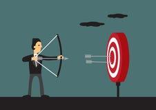 Businessman Hits Bullseye on Target Vector Cartoon Illustration Royalty Free Stock Image