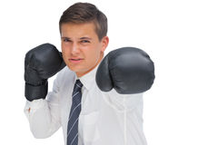 Businessman hitting with black boxing gloves Royalty Free Stock Photo