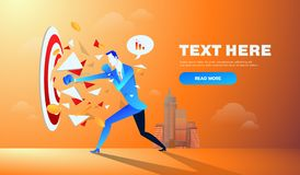 Businessman hitting and breaking the goal target vector illustration. Businessman hitting and breaking the goal target vector illustration royalty free illustration