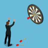 Businessman hitting the center of target. Aiming for a high target concept. Business idea concept. Flat 3d isometric Royalty Free Stock Photos